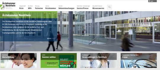Screenshot der Homepage www.aekno.de